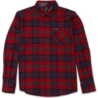 Volcom Youth Engine Red Caden Plaid Red Long Sleeve Check Shirt