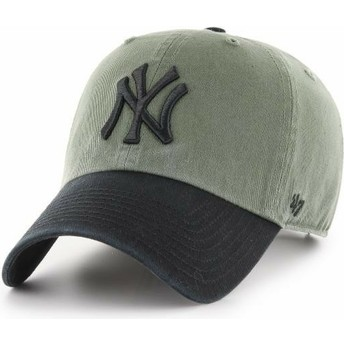 47 Brand Curved Brim Black Logo New York Yankees MLB Clean Up Two Tone Green Cap with Black Visor