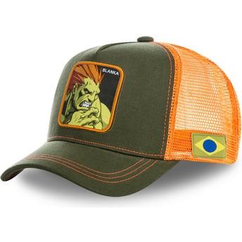 Capslab Blanka BLA Street Fighter Green and Orange Trucker Hat