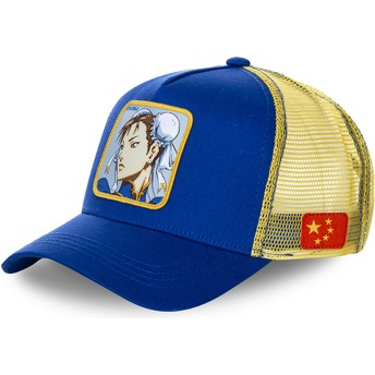 Capslab Chun-Li CHU Street Fighter Blue and Yellow Trucker Hat