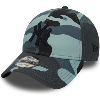New Era Curved Brim Black Logo 9FORTY Essential de New York Yankees MLB Camouflage and Blue Adjustable Cap