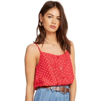 Volcom Red Deep Tracks Red Tank Blouse