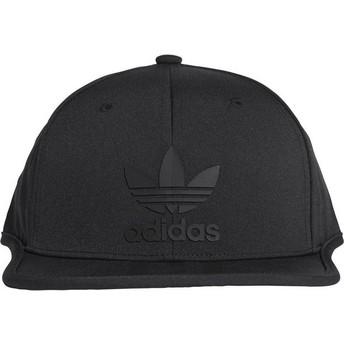 Adidas Flat Brim 3 Stripes Black Snapback Cap