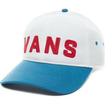 Vans Curved Brim Dugout White Adjustable Cap with Blue Visor