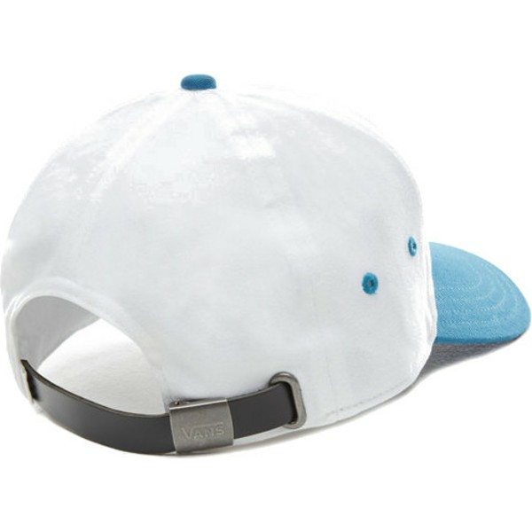 vans-curved-brim-dugout-white-adjustable-cap-with-blue-visor