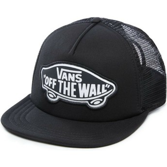 Vans Logo Beach Girl Black Trucker Hat