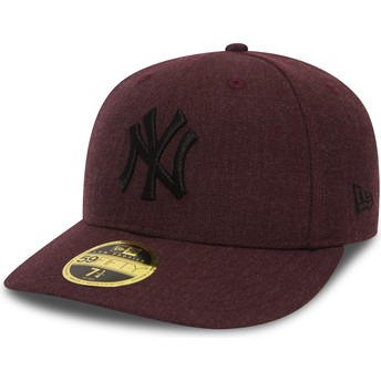 New Era Flat Brim Black Logo 59FIFTY Low Profile Heather New York Yankees MLB Maroon Fitted Cap