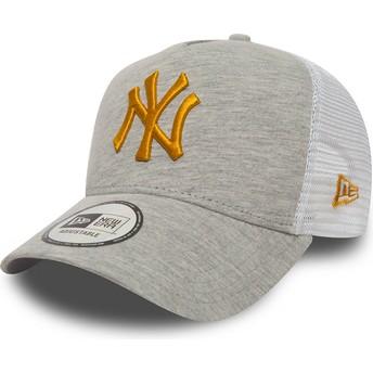 New Era Yellow Logo 9FORTY Essential Jersey New York Yankees MLB Grey Trucker Hat