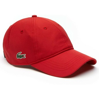 Lacoste Curved Brim Basic Dry Fit Red Adjustable Cap