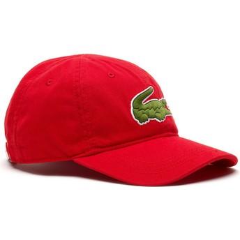 Lacoste Curved Brim Big Croc Gabardine Red Adjustable Cap