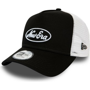 New Era Oval Script A Frame Black and White Trucker Hat