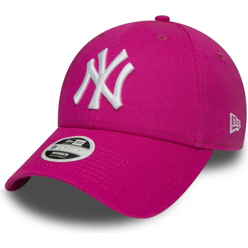 new-era-curved-brim-9forty-essential-new-york-yankees-mlb-pink-adjustable-cap