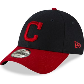 New Era Curved Brim 9FORTY The League Cleveland Indians MLB Navy Blue and Red Adjustable Cap