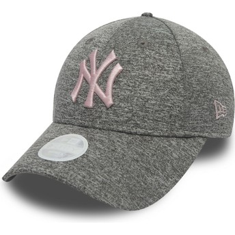 New Era Curved Brim Pink Logo 9FORTY Tech Jersey New York Yankees MLB Grey Adjustable Cap