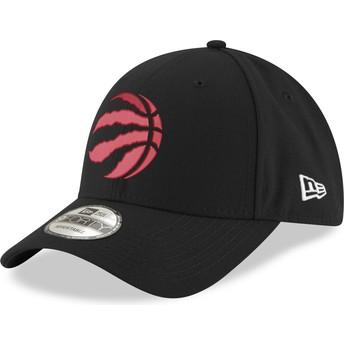 New Era Curved Brim Red Logo9FORTY The League Toronto Raptors NBA Black Adjustable Cap