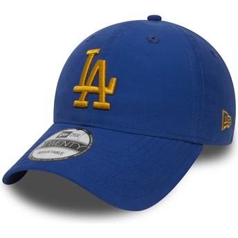 New Era Curved Brim Golden Logo 9TWENTY Nylon Packable Los Angeles Dodgers MLB Blue Adjustable Cap