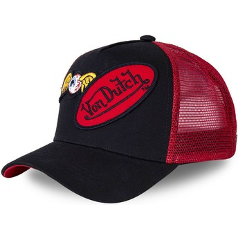 Von Dutch DBLPAT Black and Red Trucker Hat