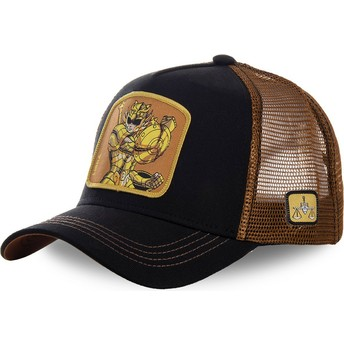 Capslab Libra LIB Saint Seiya: Knights of the Zodiac Black and Brown Trucker Hat