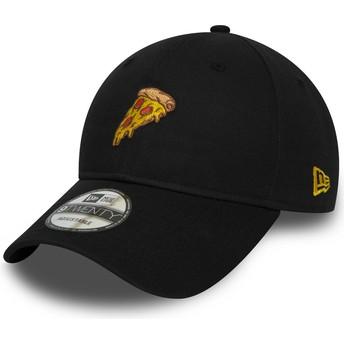 New Era Curved Brim 9TWENTY Pizza Black Adjustable Cap