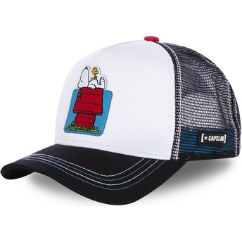 Capslab Doghouse, Snoopy and Woodstock HOU Peanuts White and Black Trucker Hat