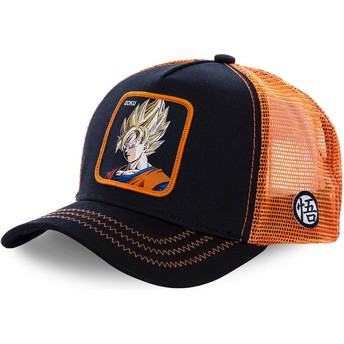 Capslab Youth Son Goku Super Saiyan KID_GO3 Dragon Ball Black and Orange Trucker Hat