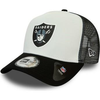 New Era Team Colour Block A Frame Las Vegas Raiders NFL White and Black Trucker Hat