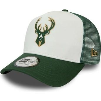 New Era Team Colour Block A Frame Milwaukee Bucks NBA White and Green Trucker Hat