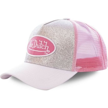 Von Dutch SIL Silver and Pink Trucker Hat