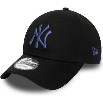 New Era Curved Brim Blue Logo 9FORTY Colour Essential New York Yankees MLB Black Adjustable Cap