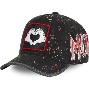 Capslab Curved Brim Mickey Mouse Heart Hands TAG MIC2 Disney Black Adjustable Cap