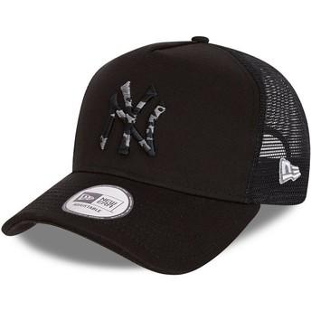 New Era Camouflage Logo InFill A Frame New York Yankees MLB Black and Black Trucker Hat