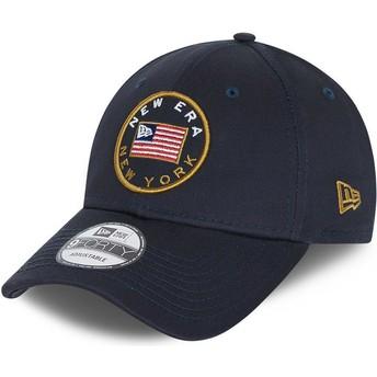New Era Curved Brim 9FORTY USA Flag Navy Blue Adjustable Cap