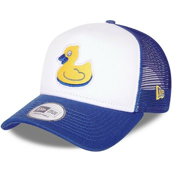 New Era A Frame Akron RubberDucks MiLB White and Blue Trucker Hat