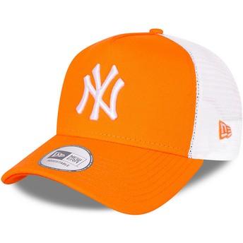 New Era A Frame Tonal Mesh New York Yankees MLB Orange Trucker Hat