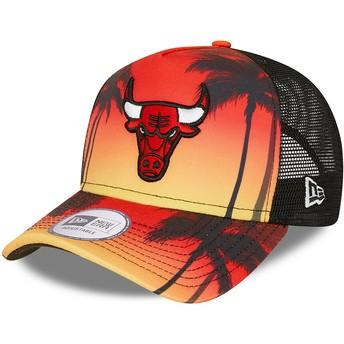 New Era A Frame Summer City Chicago Bulls NBA Red Trucker Hat