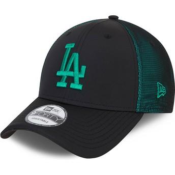 New Era Curved Brim Green Logo 9FORTY Mesh Underlay Los Angeles Dodgers MLB Black and Green Adjustable Cap