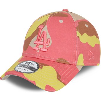 New Era Curved Brim Pink Logo 9FORTY Los Angeles Dodgers MLB Camouflage and Pink Adjustable Cap