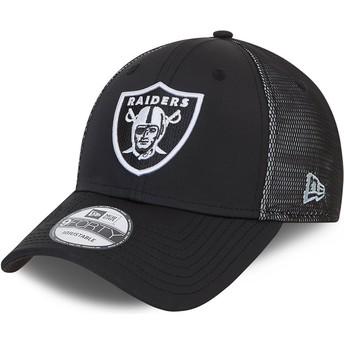 New Era Curved Brim 9FORTY Mesh Underlay Oakland Raiders NFL Black Adjustable Cap