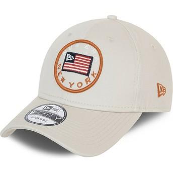 New Era Curved Brim 9FORTY USA Flag Grey Adjustable Cap