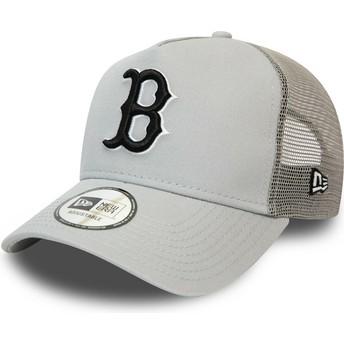 New Era Black Logo League Essential A Frame Boston Red Sox MLB Grey Trucker Hat