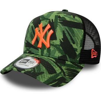 New Era Orange Logo Seasonal A Frame New York Yankees MLB Camouflage Trucker Hat
