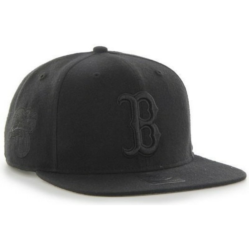 47-brand-flat-brim-black-logo-boston-red-sox-mlb-sure-shot-black-snapback-cap