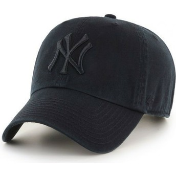 47 Brand Curved Brim Dark Black Black Logo New York Yankees MLB Clean Up Black Cap