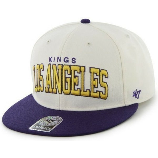 47-brand-flat-brim-los-angeles-kings-nhl-white-and-blue-snapback-cap