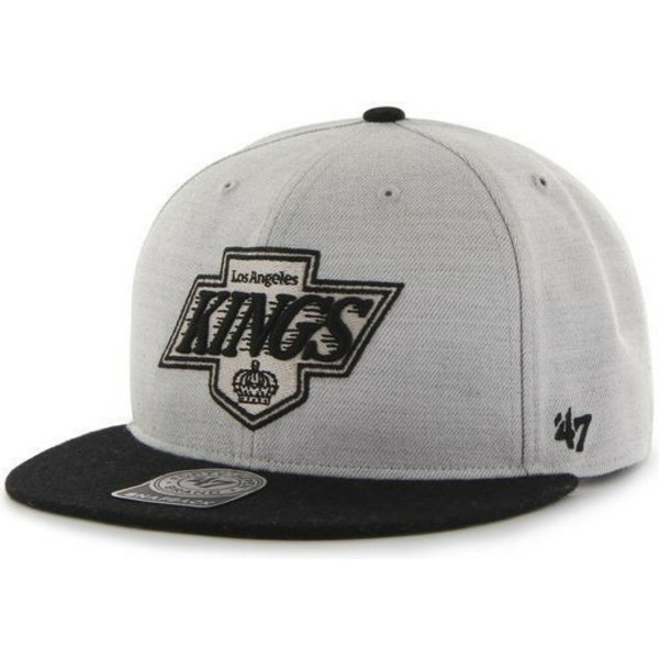 47-brand-flat-brim-los-angeles-kings-nhl-grey-and-black-snapback-cap