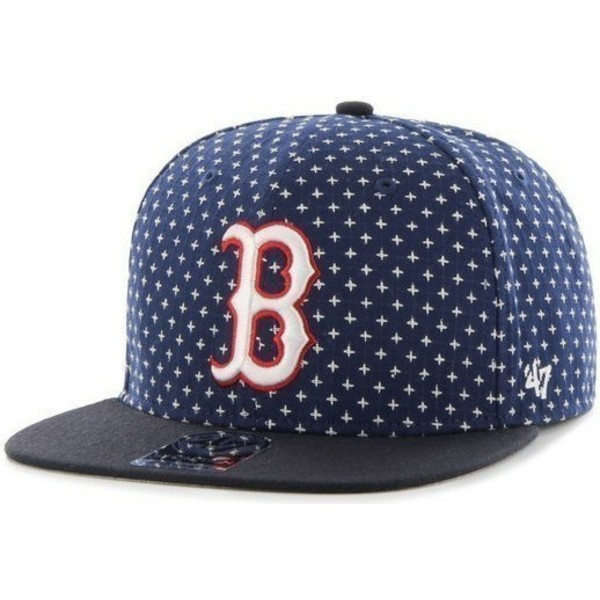 47-brand-flat-brim-cross-print-mlb-boston-red-sox-navy-blue-snapback-cap