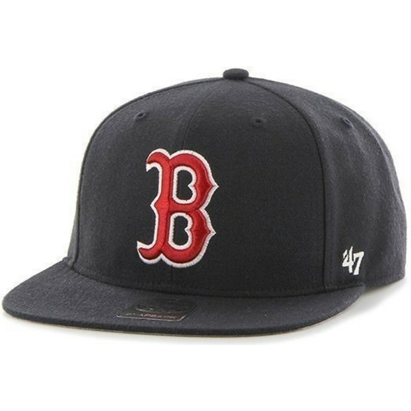 47-brand-flat-brim-mlb-boston-red-sox-smooth-navy-blue-snapback-cap