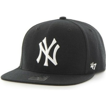 47 Brand Flat Brim MLB New York Yankees Smooth Black Snapback Cap