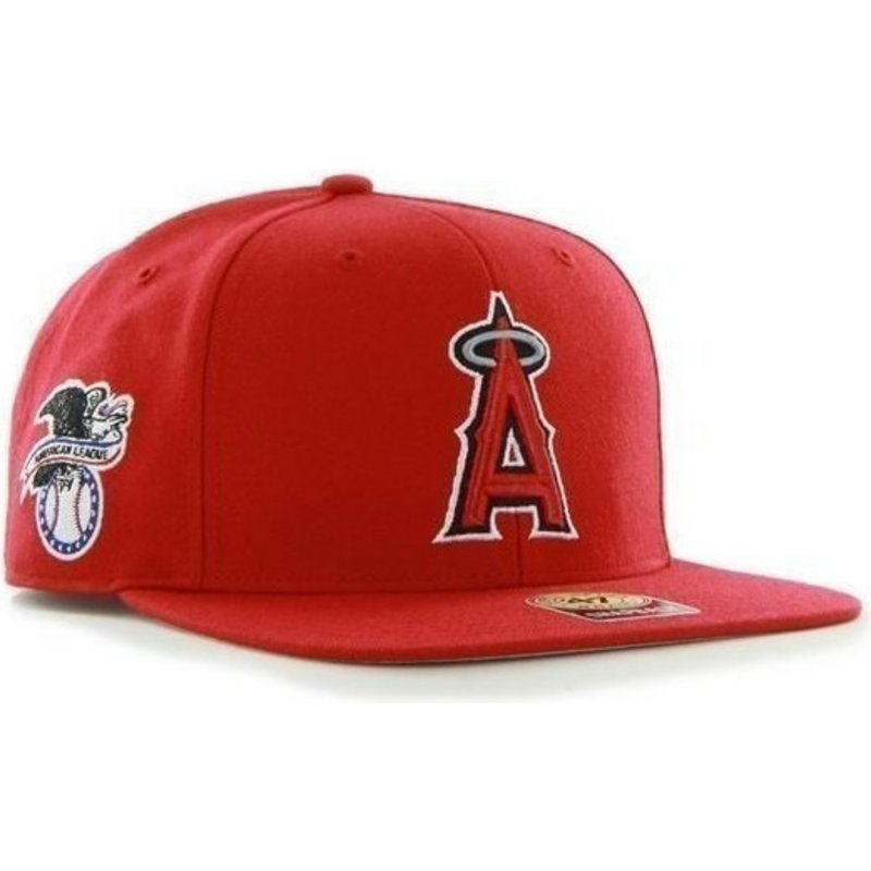 47-brand-flat-brim-side-logo-mlb-los-angeles-angels-of-anaheim-smooth-red-snapback-cap