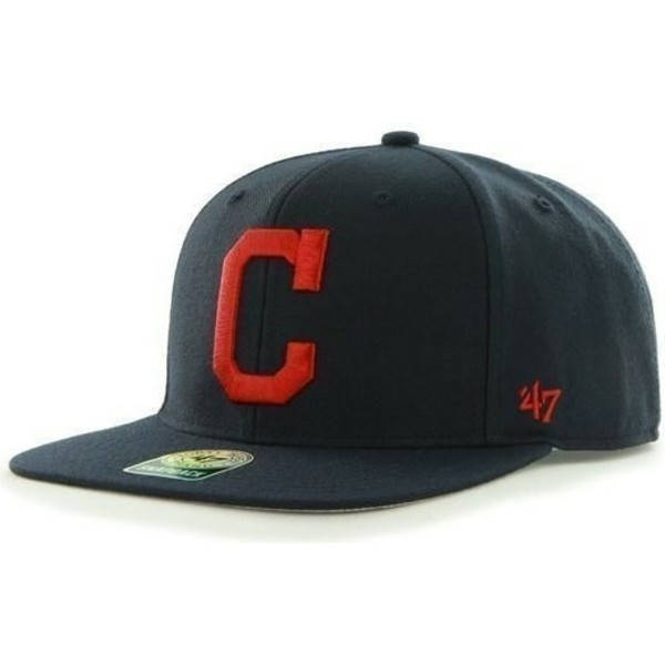 47-brand-flat-brim-side-logo-mlb-cleveland-indians-smooth-navy-blue-snapback-cap